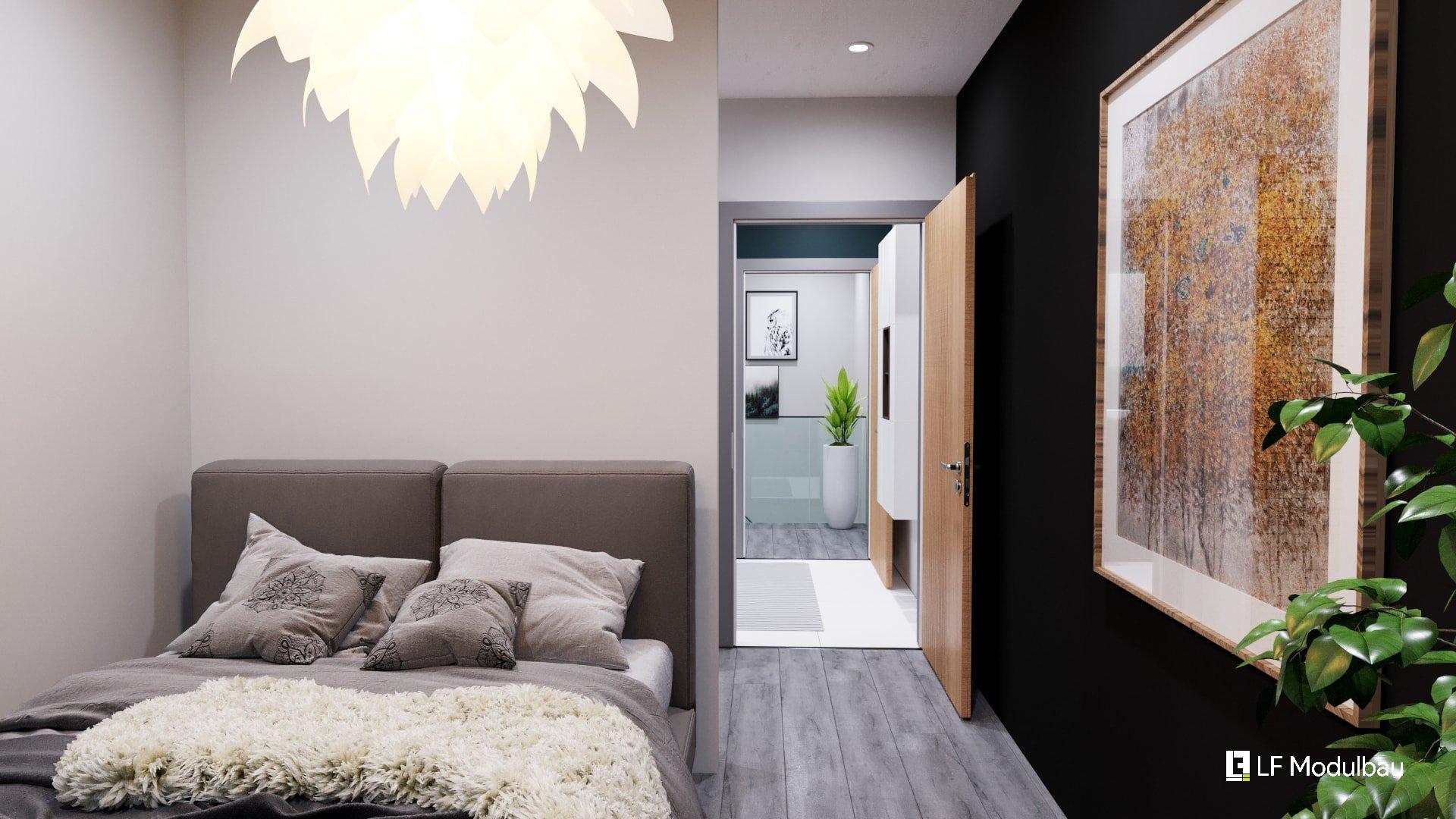 Das Schlafzimmer unseres Fertighauses in Modulbauweise - LF Home UP I Style