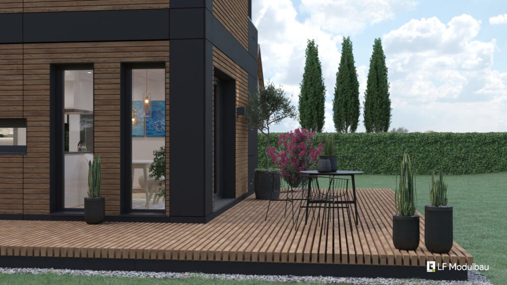 Die Terrasse unseres Fertighauses in modulbauweise - LF Home UP I Home