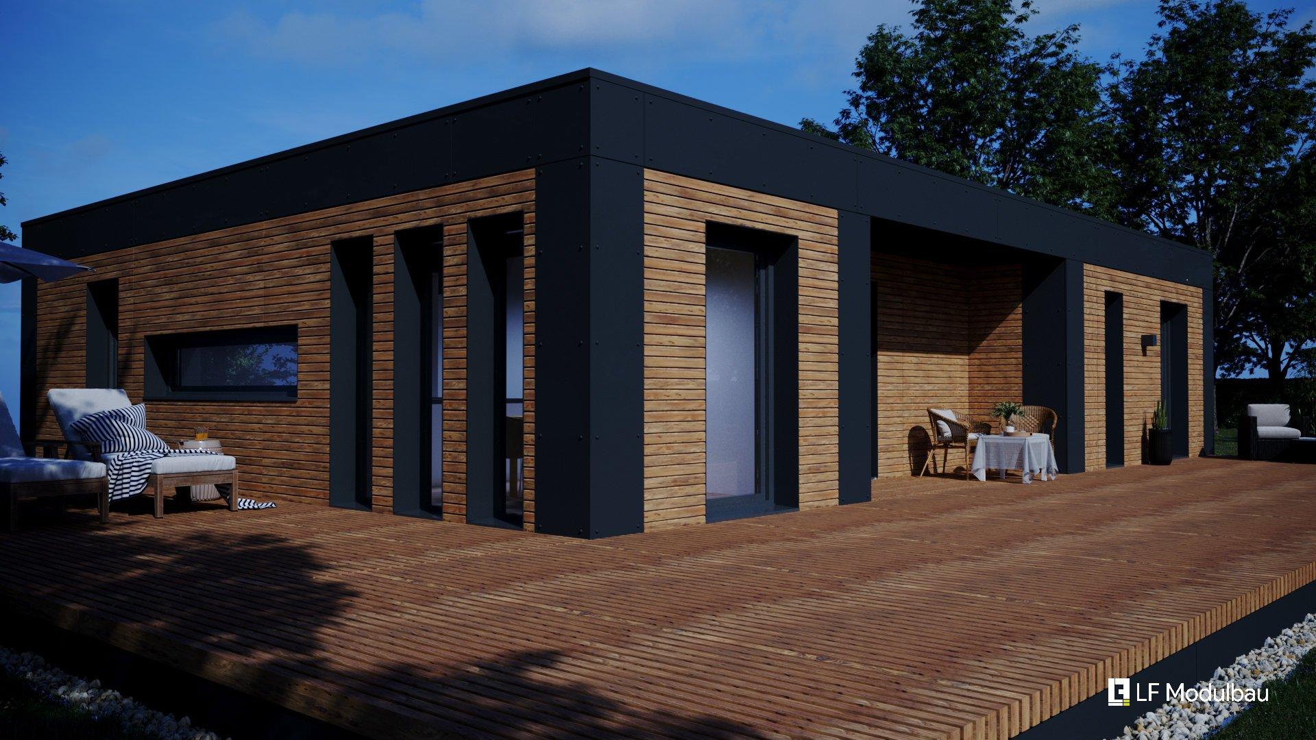 Die Außenansicht unseres Fertighauses in modulbauweise - LF Home III