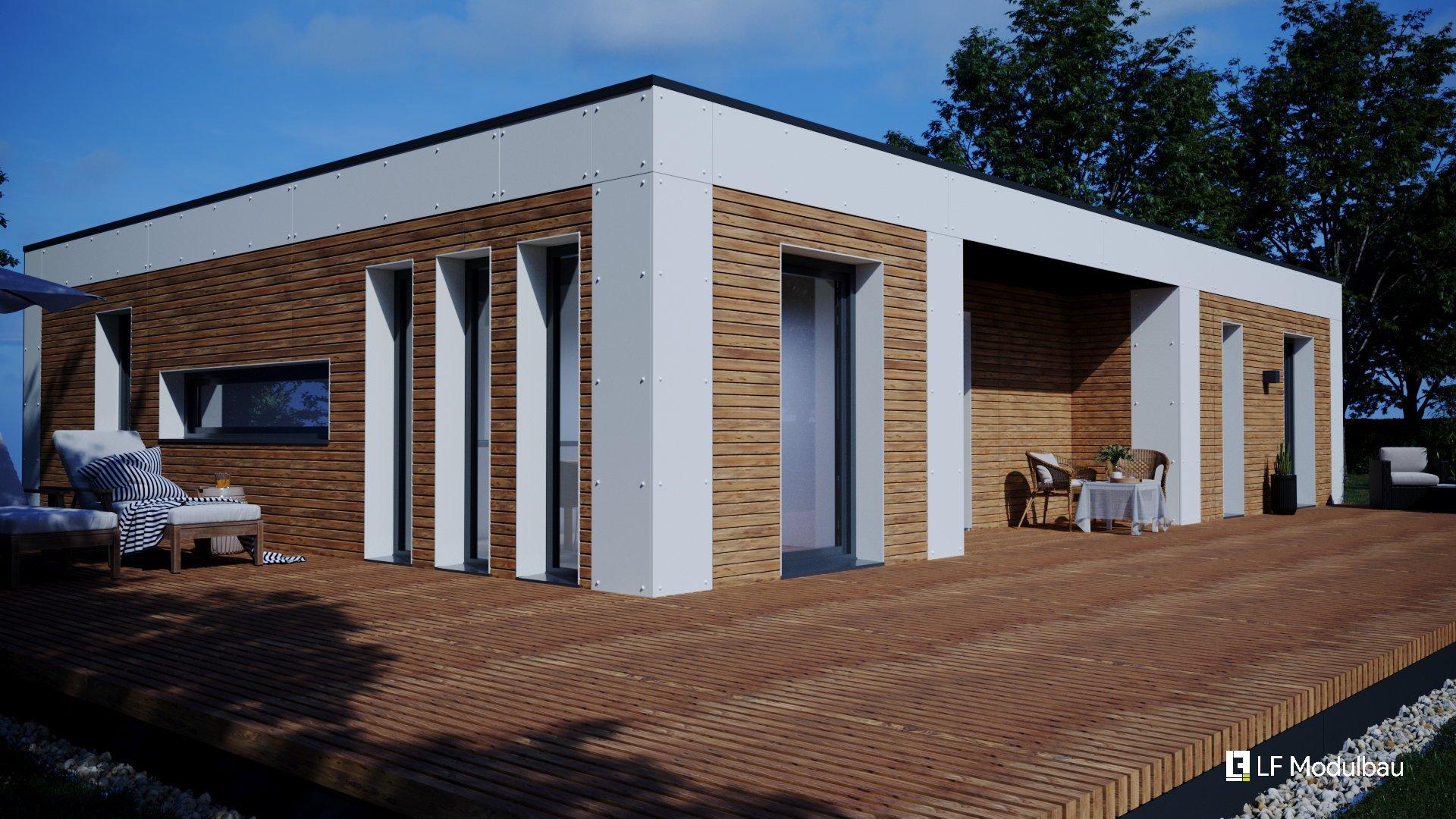 Die Außenansicht (White) unseres Fertighauses in modulbauweise - LF Home III