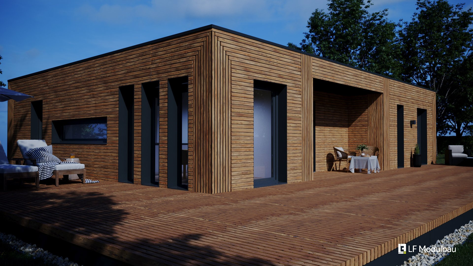 Die Außenansicht (Wood) unseres Fertighauses in modulbauweise - LF Home III