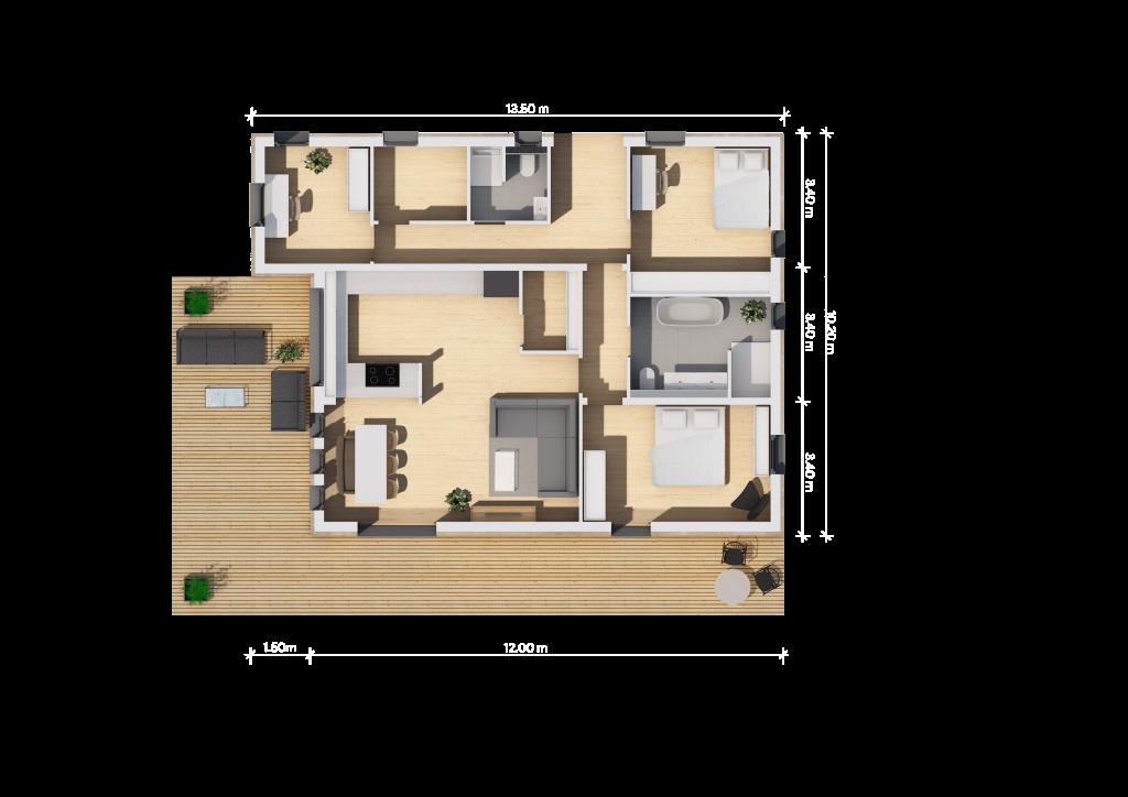 Grundriss 12m (LF Home III) - bemaßt