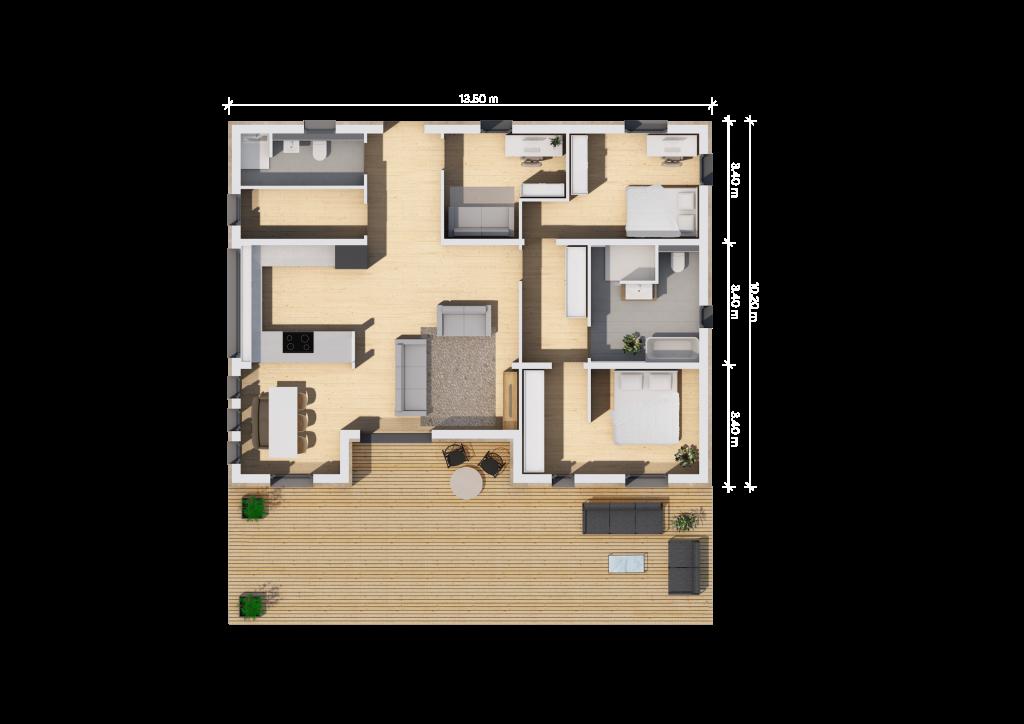Der Grundriss (13,5qm mit Einbuchtung) unseres Fertighauses in Modulbauweise - LF Home III