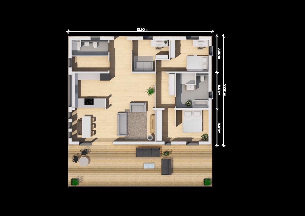 Der Grundriss (13,5qm ohne Einbuchtung) unseres Fertighauses in Modulbauweise - LF Home III