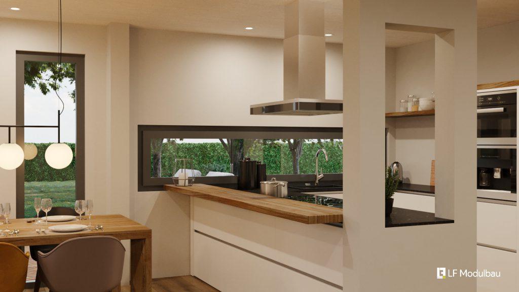 Das Wohnzimmer unseres Fertighauses in Modulbauweise - LF Home III