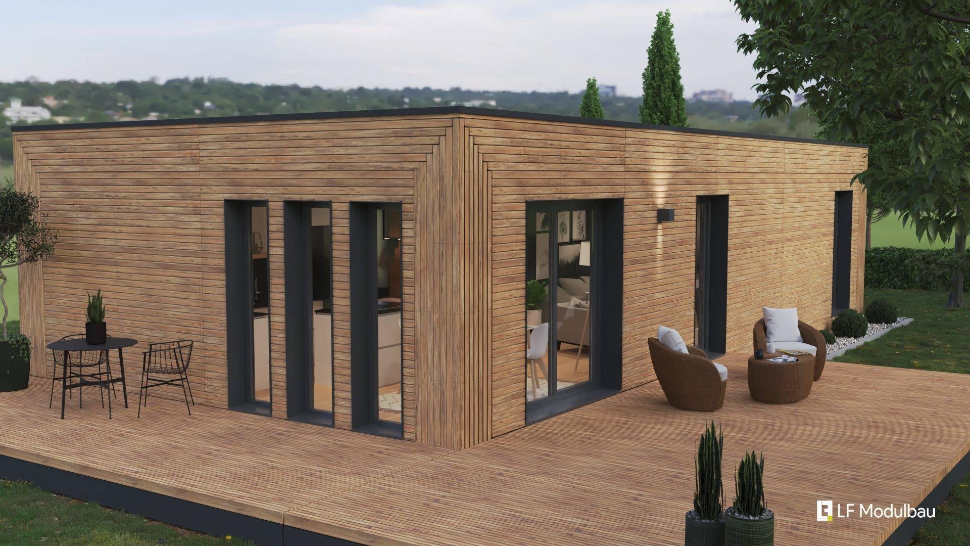 Die Ausstattungsvariante Wood unseres Fertighauses in modulbauweise - LF Home I