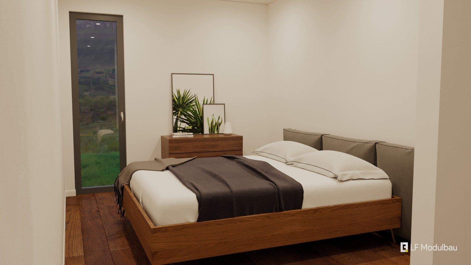 Das Schlafzimmer unseres Fertighauses in Modulbauweise - LF Home IV
