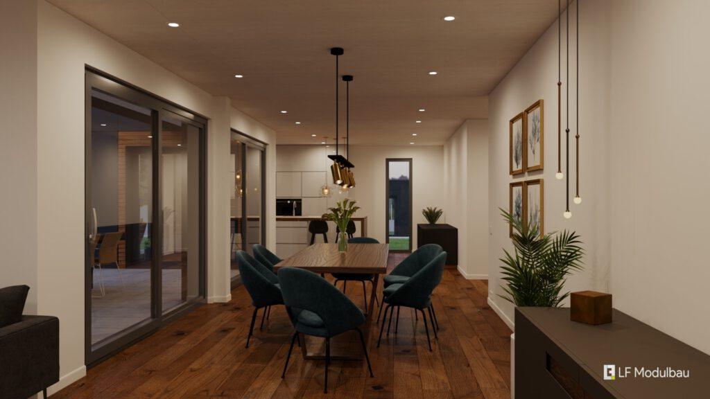 Das Wohnzimmer unseres Fertighauses in Modulbauweise - LF Home IV