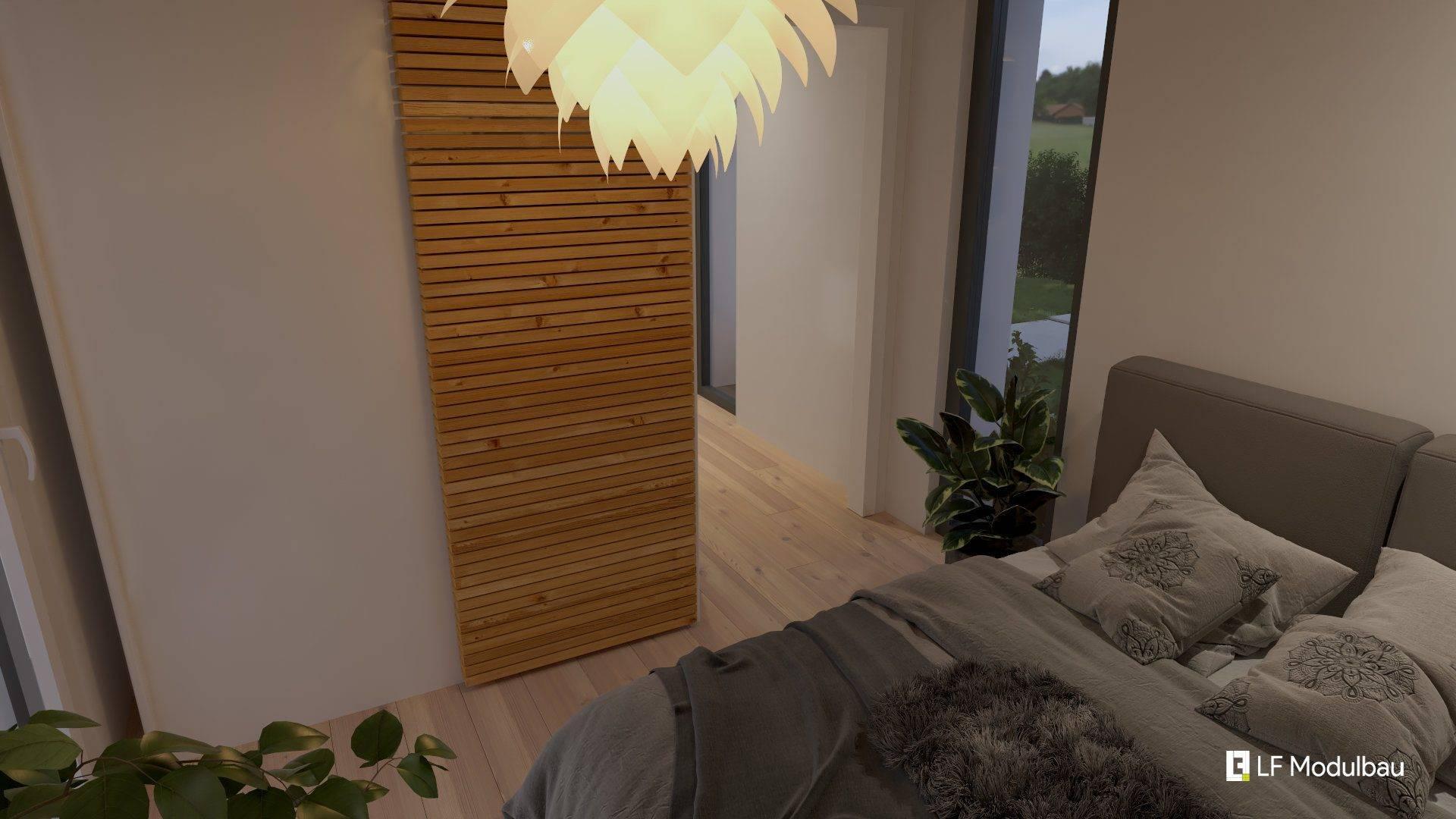 Das Schlafzimmer unseres Fertighauses in modulbauweise - LF Home I