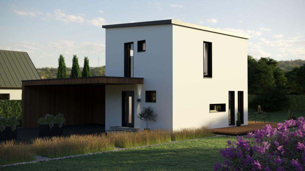 """Die Außenansicht unseres Fertighauses in Modulbauweise - LF Home UP I """"Classic"""" Pultdach"""