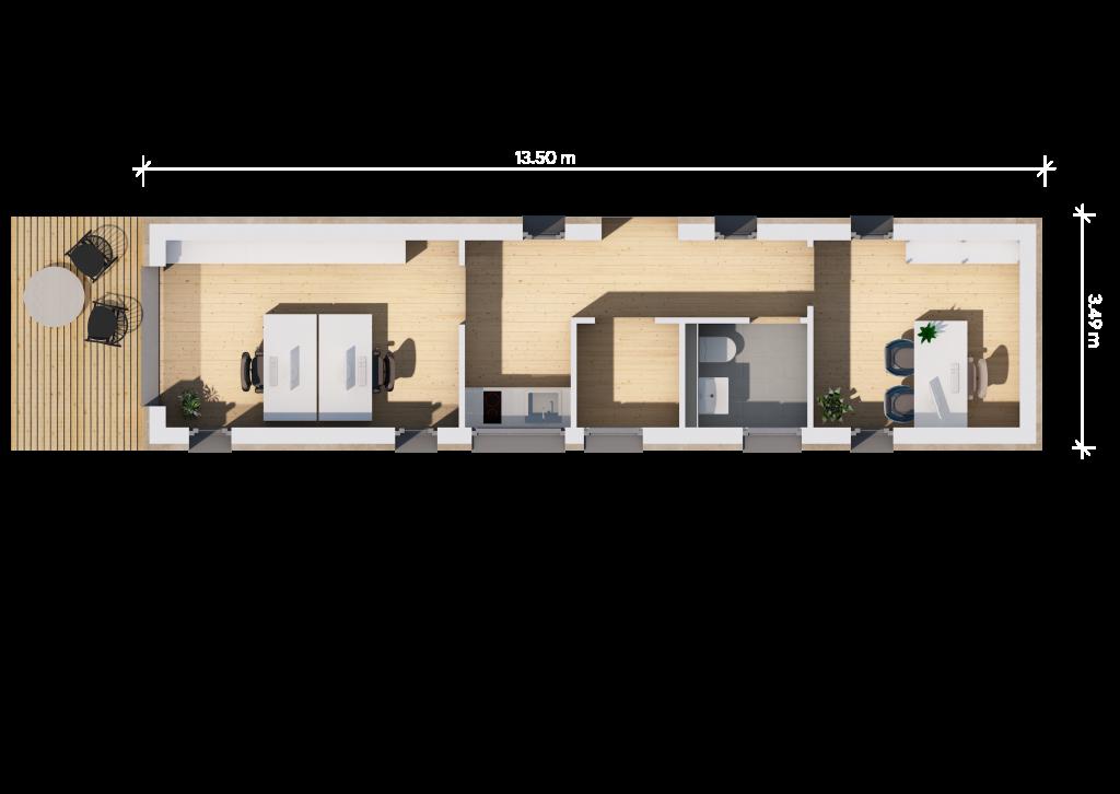 Der Grundriss (13,5qm mit Bemaßung) unseres Fertighauses in Modulbauweise - LF Home I